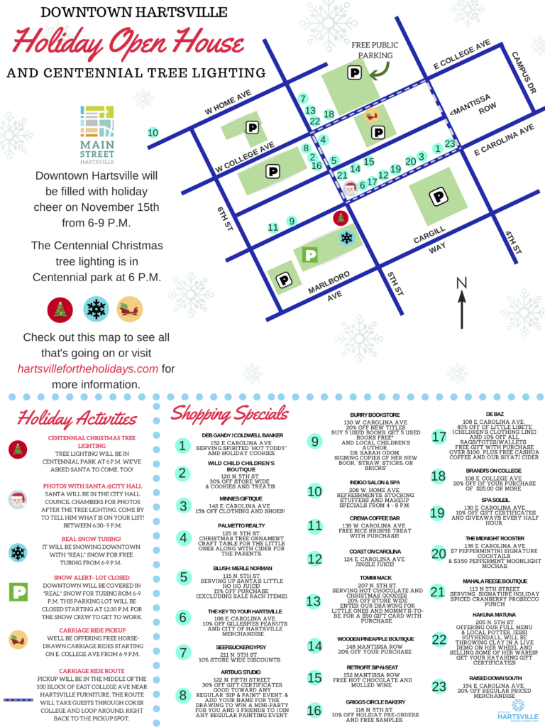 Downtown Holiday Open House 2018 event map.